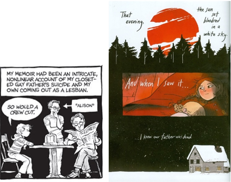 Panels from Bechdel's Fun Home and Carroll's Through the Woods